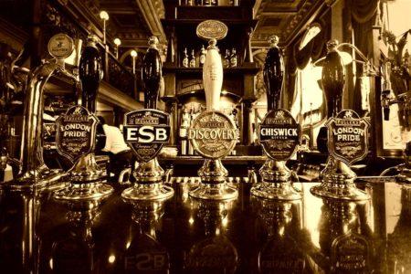 Beer Tap Handles on Bar